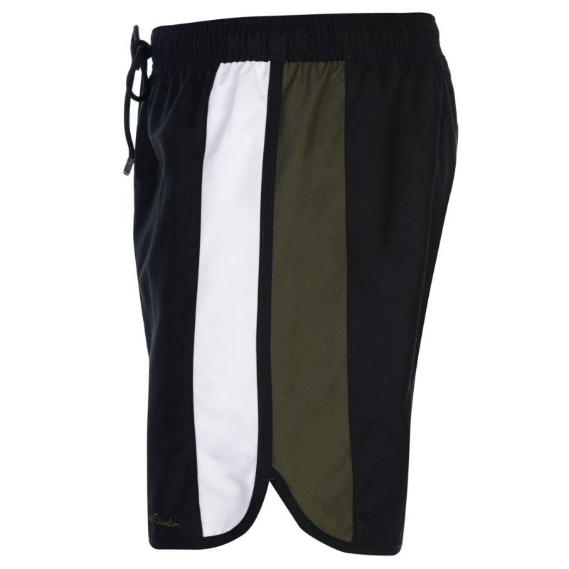 Plavky Pierre Cardin Panelled Swim Shorts Mens Black/Wht/Khaki