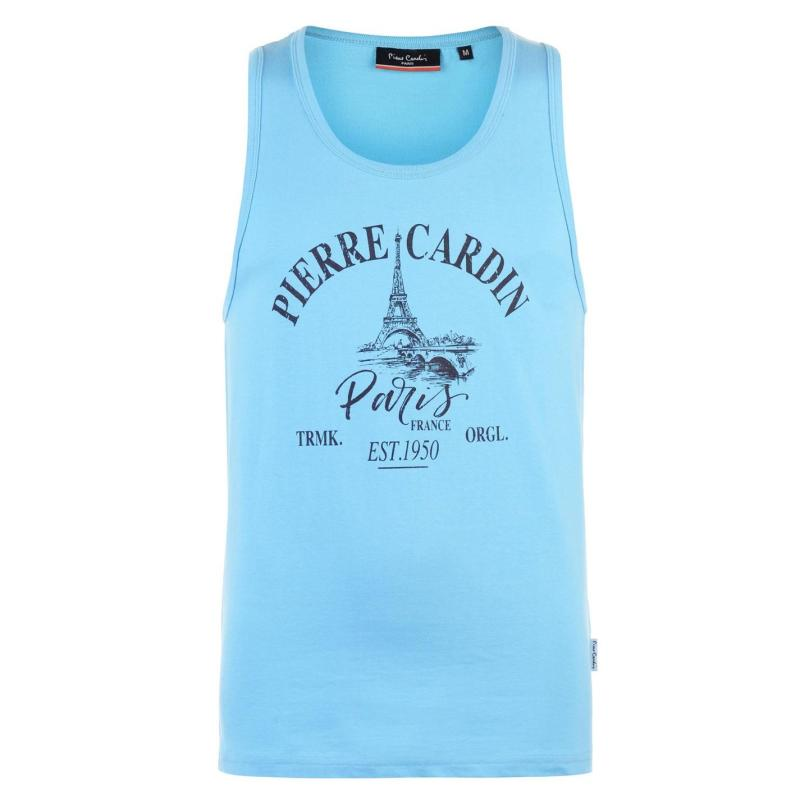 Tílko Pierre Cardin Printed Vest Mens Blue