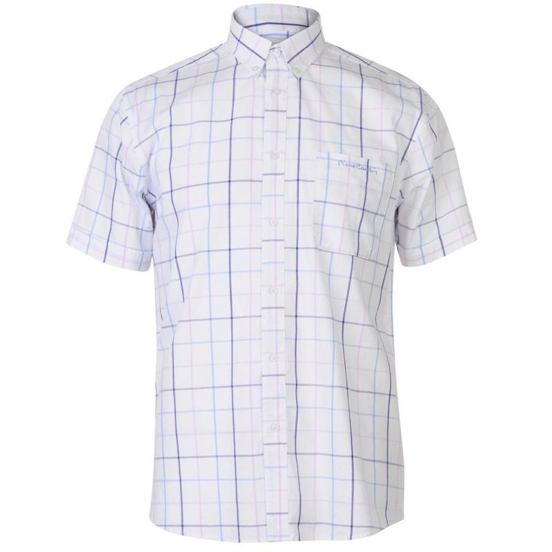 Pierre Cardin Window Check Short Sleeve Shirt Mens Yell/Orang/Blue
