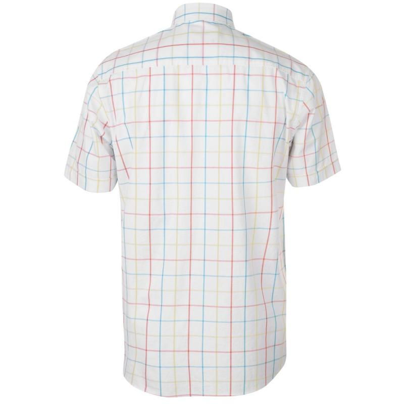 Pierre Cardin Window Check Short Sleeve Shirt Mens Navy/Blue/Sky