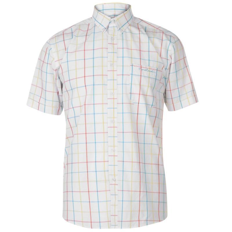 Pierre Cardin Window Check Short Sleeve Shirt Mens Blue/Purpl/Pink