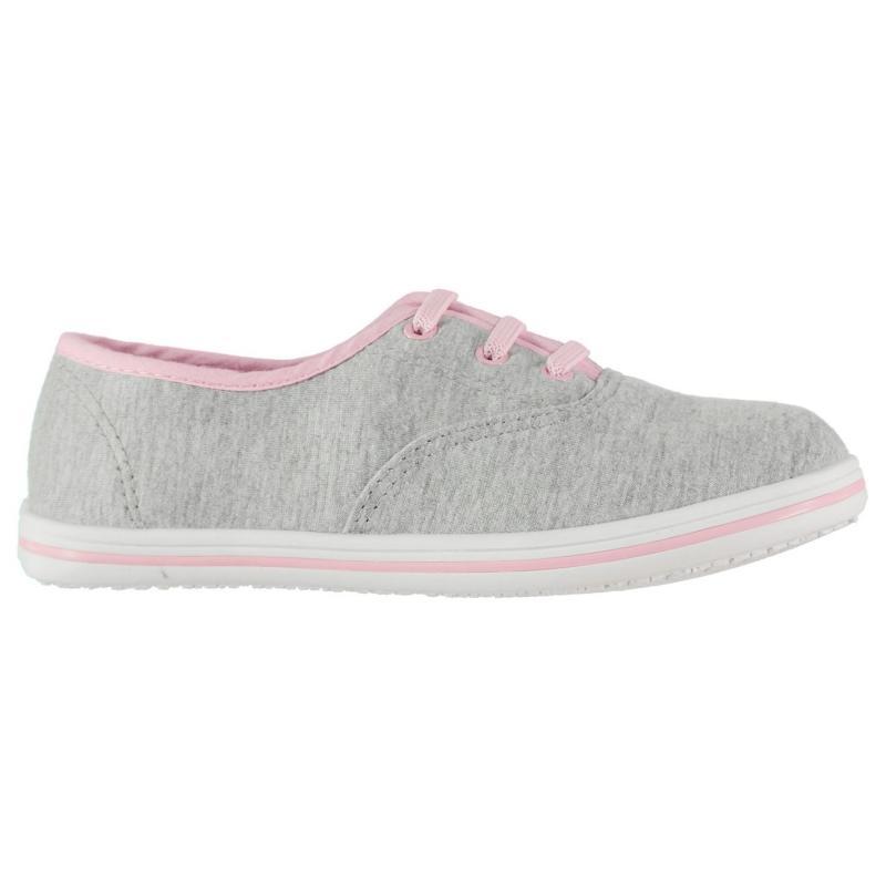 Boty Slazenger Childrens Canvas Pumps Grey Marl/Pink