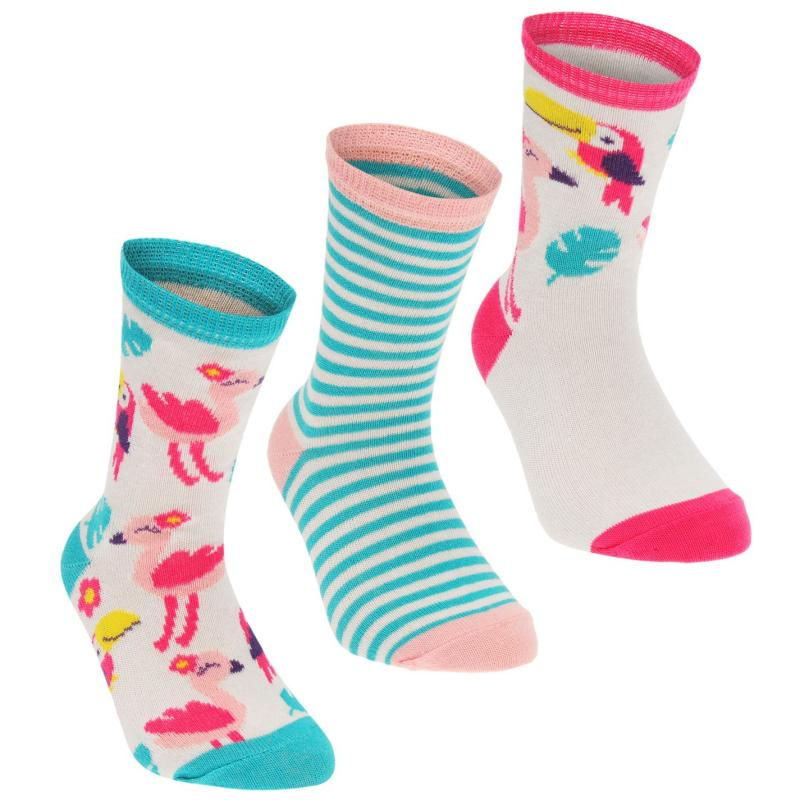 Crafted Essentials 3 Pack Flamingo Socks Child Girls White/Pink