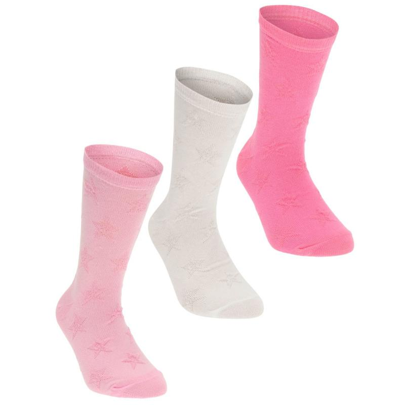 Crafted Essentials 3 Pack Star Socks Child Girls Pink Jacq Heart