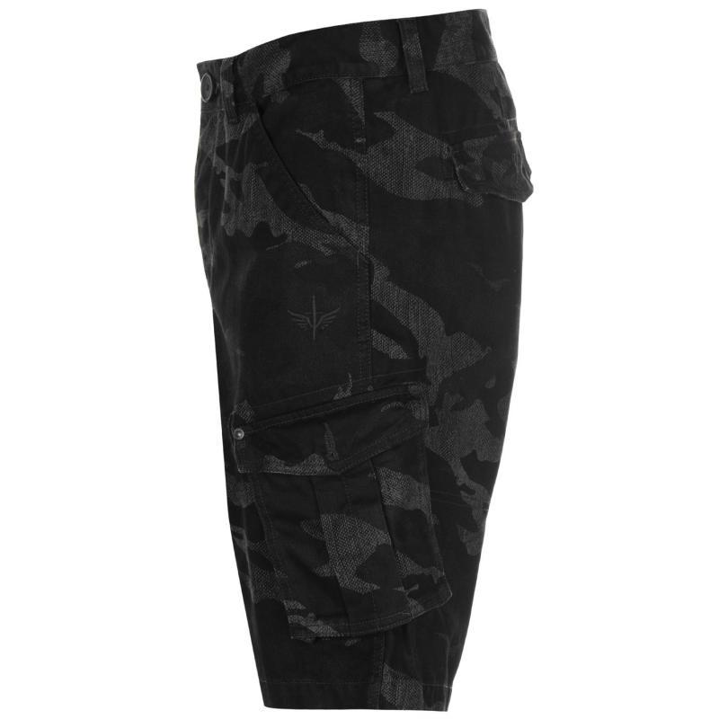 Firetrap Below The Knee Shorts Mens Black Camo