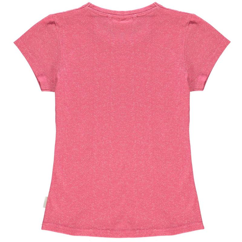 Lee Cooper Text AOP T Shirt Junior Girls Strong Pink