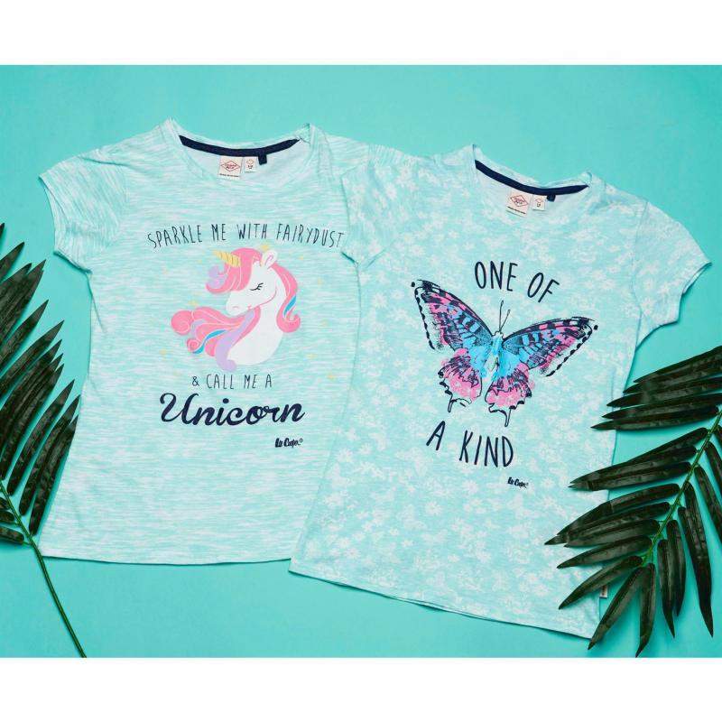 Lee Cooper Text AOP T Shirt Junior Girls Mint Butterfly