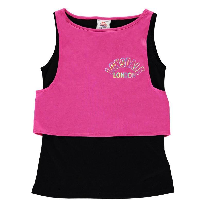 Lonsdale Layer Vest Junior Girls Magenta/Black