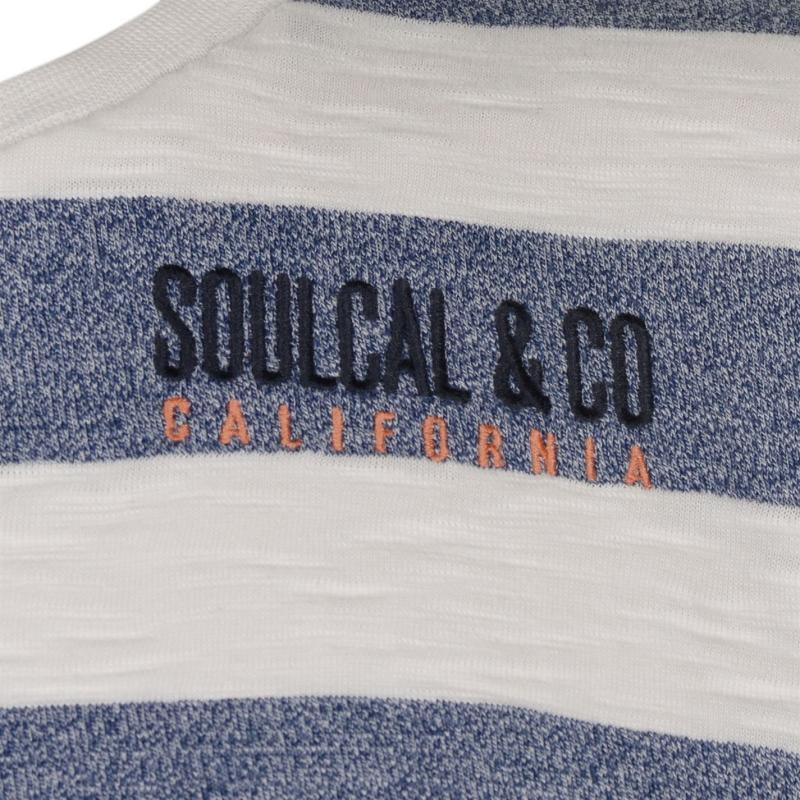 Tričko SoulCal Stripe T Shirt Mens White/Navy M