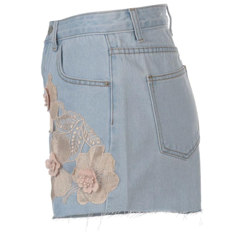 Glamorous Embroidered Denim Shorts Light Stonewash