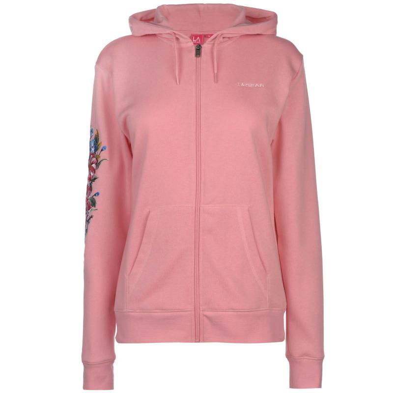 Mikina LA Gear Floral Full Zip Hoody Ladies Pink