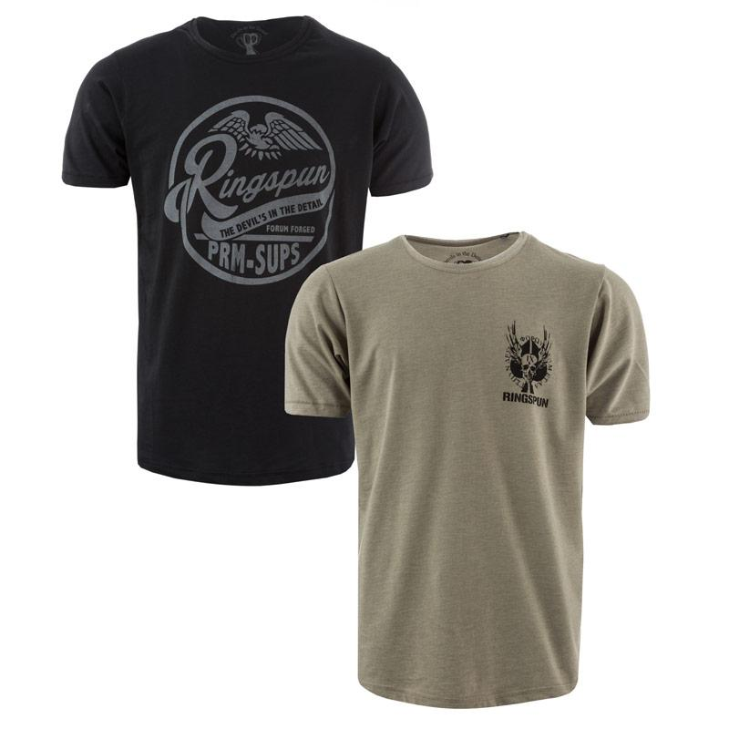 Tričko Ringspun Mens Alpha Eagle 2 Pack T-Shirts black green