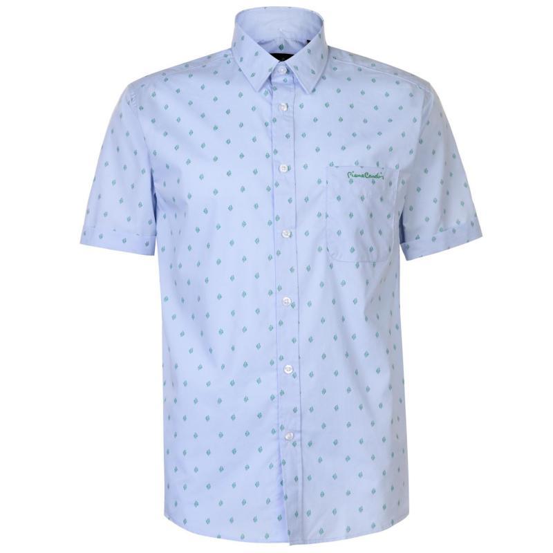 Pierre Cardin Printed Short Sleeve Shirt Mens Blue Leaf