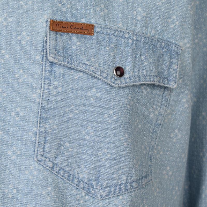 Pierre Cardin AOP Denim Shirt Mens Light Blue
