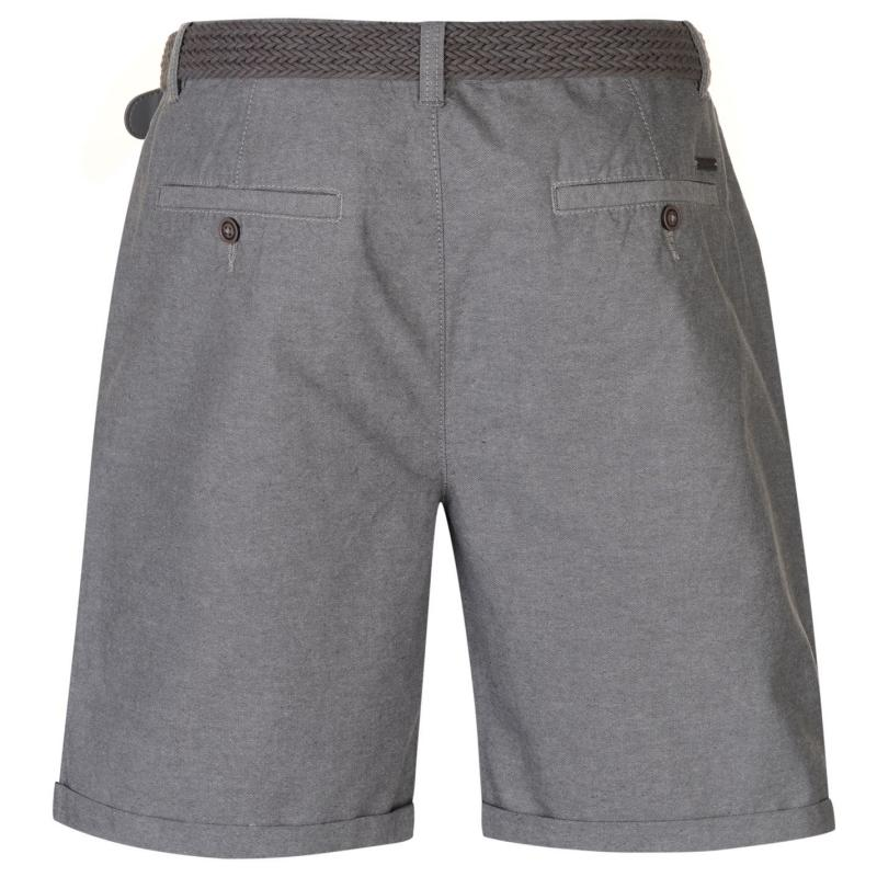 Pierre Cardin Belted Oxford Shorts Mens Grey