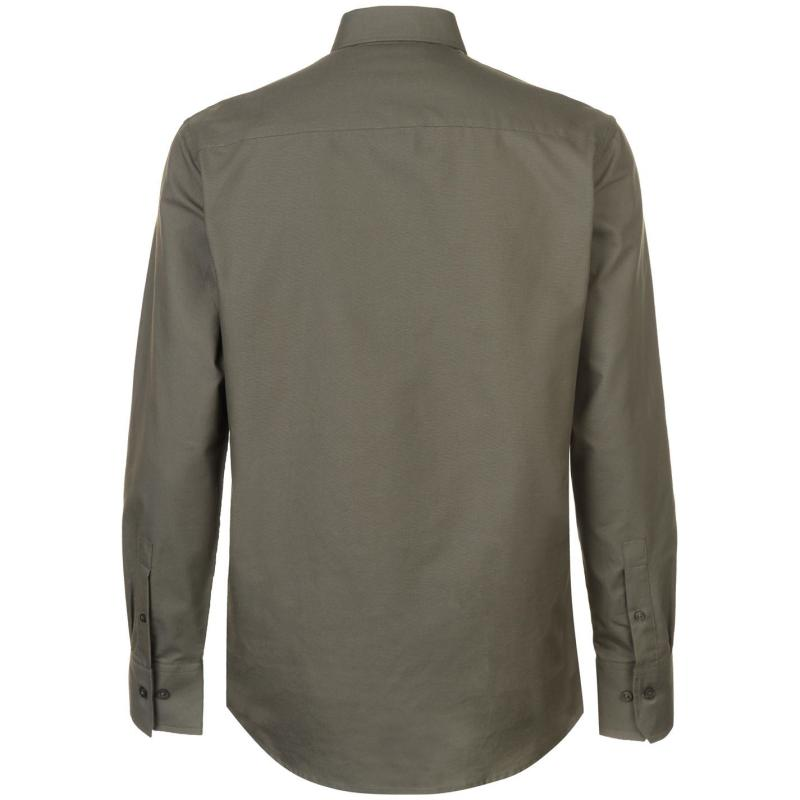 Pierre Cardin Oxford Long Sleeve Shirt Mens Light Khaki