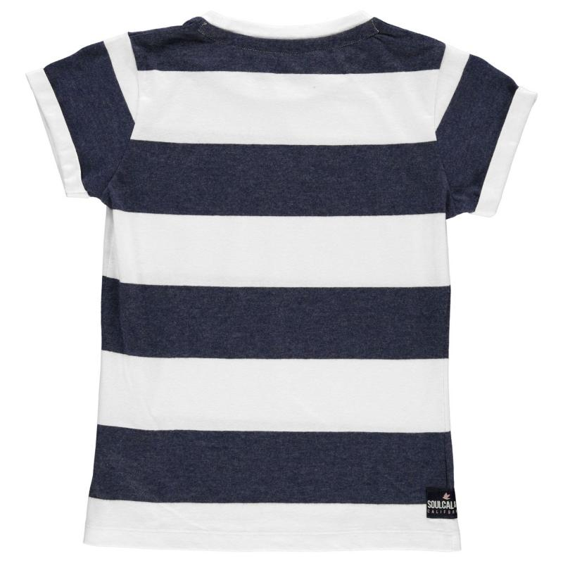 SoulCal Stripe T Shirt Junior Girls Navy M/White