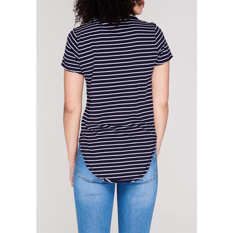SoulCal V Neck Stripe T Shirt Ladies Navy/ Multi