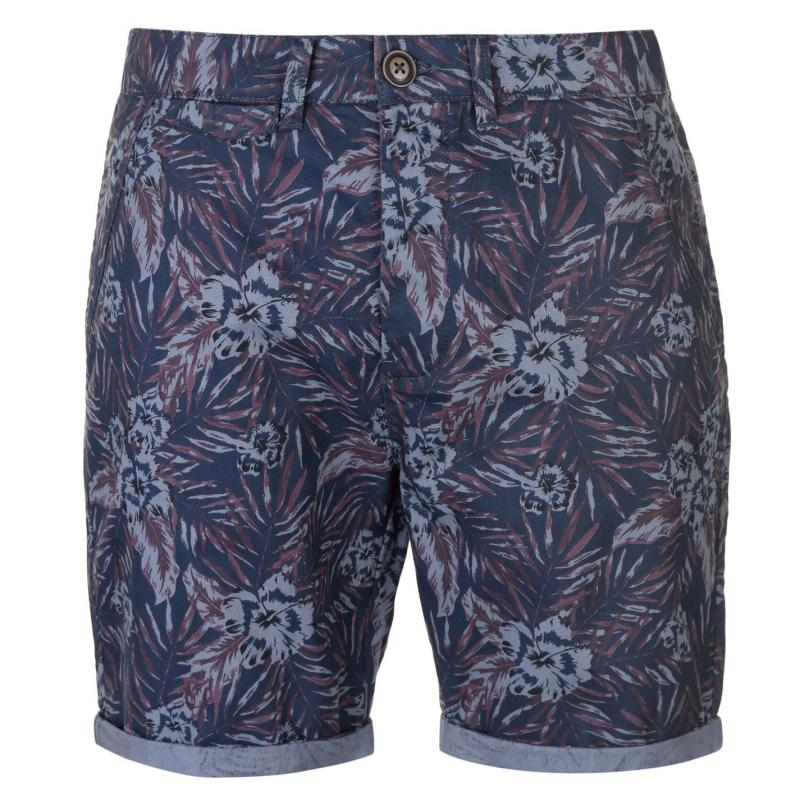 Pierre Cardin AOP Chino Shorts Mens Navy Tropical