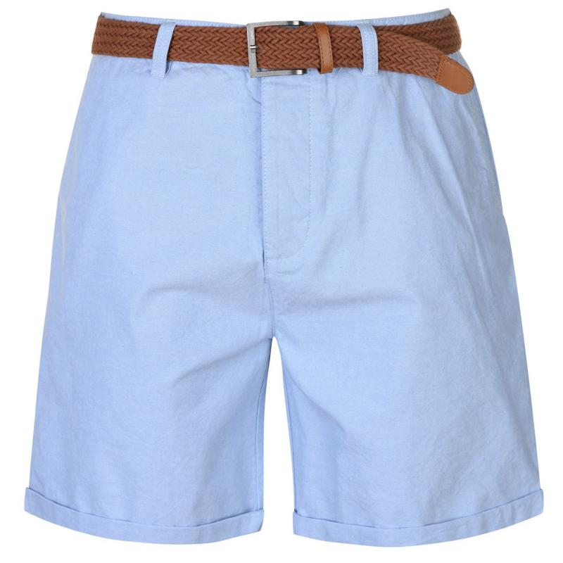 Pierre Cardin Belted Oxford Shorts Mens Blue