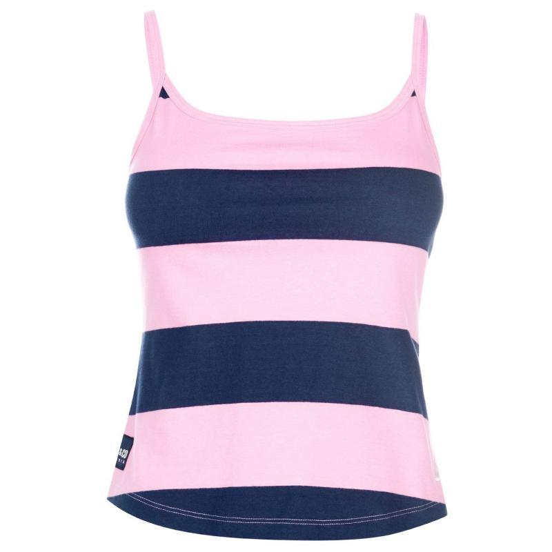 SoulCal Block Stripe Vest Top Ladies Navy/Pink