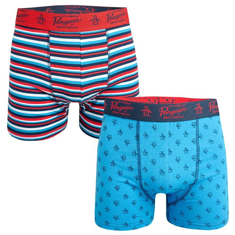 Spodní prádlo Original Penguin Mens Striped 2 Pack Boxer Shorts Red