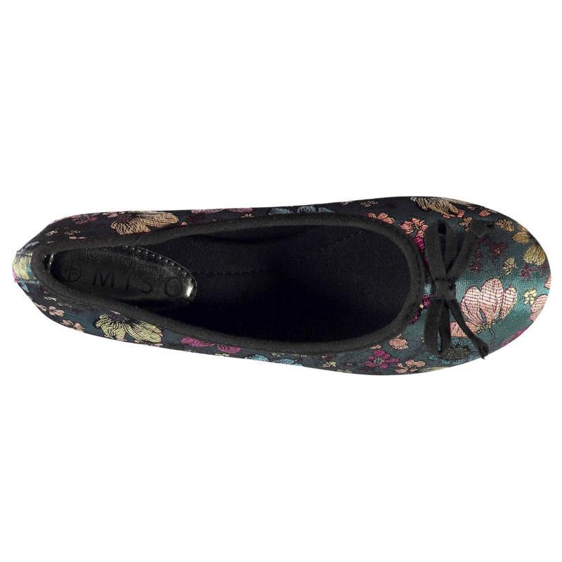 Miso Floral Ladies Ballet Shoes Navy Floral