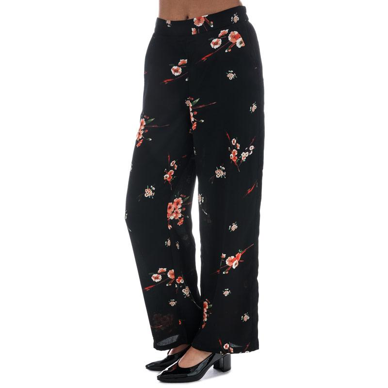 Kalhoty Only Womens Japaan Wide Leg Trousers Black