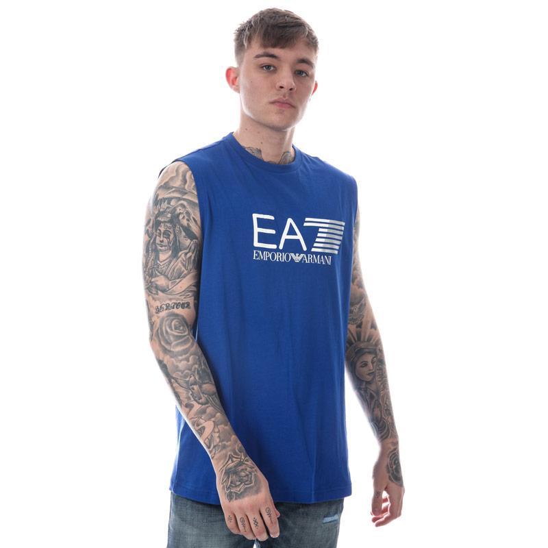 Tílko Emporio Armani EA7 Mens Train Visability Crew Neck Vest Top Blue