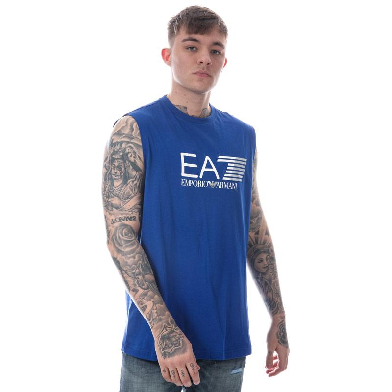 Tílko Emporio Armani EA7 Mens Train Visability Crew Neck Vest Top Blue Velikost - M