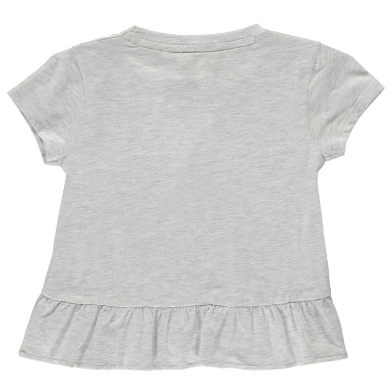 SoulCal Frill T Shirt Junior Girls Ice Marl