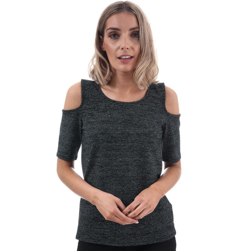 Only Womens Roma Lurex Cold Shoulder Top Black Silver
