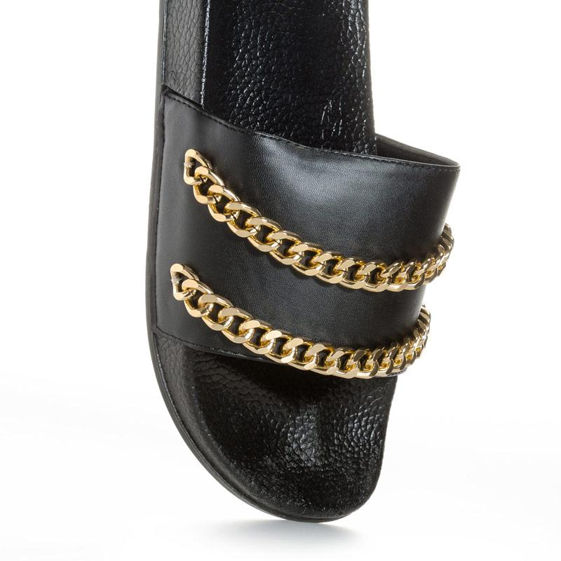 Boty 7x Womens Chain Slides Black Gold
