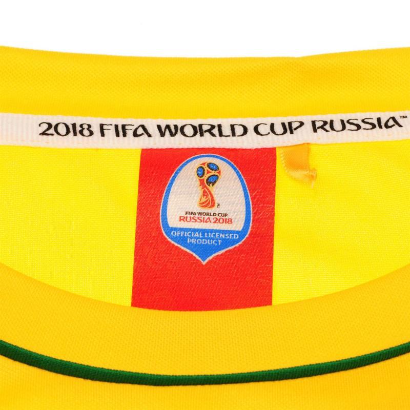 Tričko FIFA World Cup Russia 2018 Brazil Poly T Shirt Mens Yellow