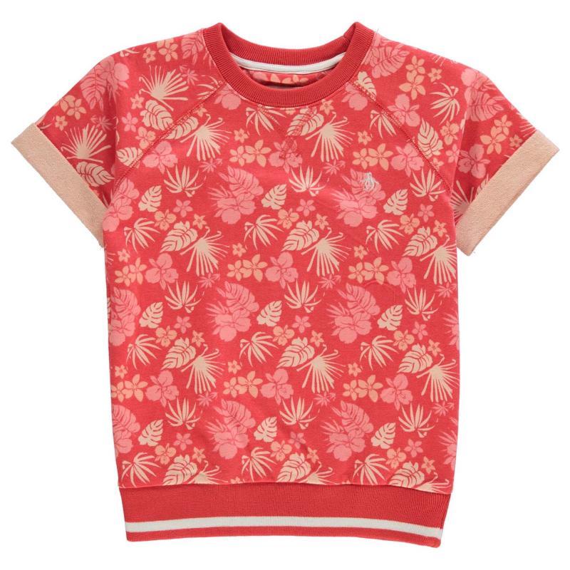Penguin AOP Sweater Top Infant Girls Hot Coral