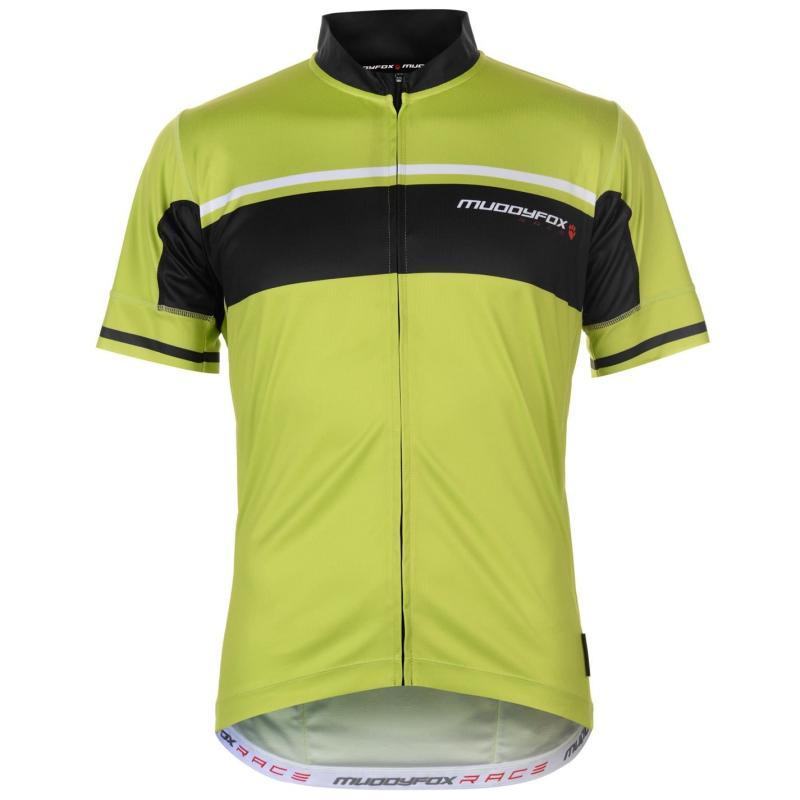 Tričko Muddyfox Race Cycling Jersey Mens Grn/Blk Stripe