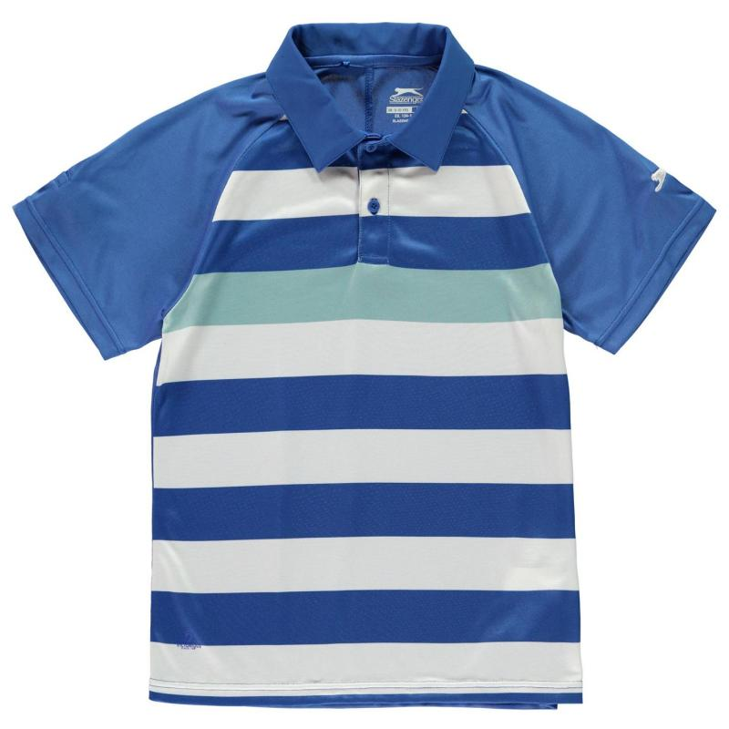 Tričko Slazenger Bold Stripe Polo Shirt Junior Boys Blue/White