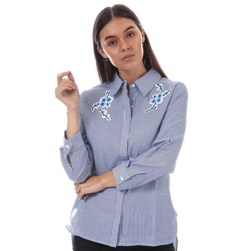 Yumi Womens Floral Embroidery Stripe Shirt Blue