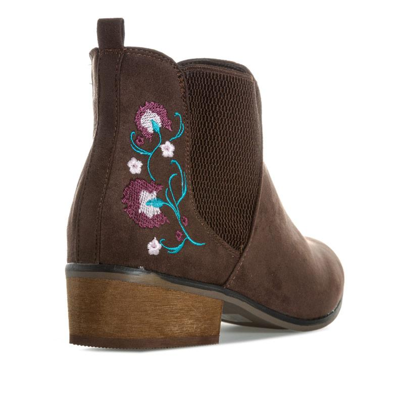 Dolcis Womens Jean Embroidered Chelsea Boots Chocolate