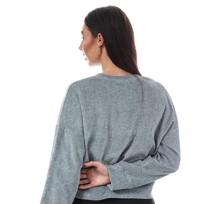 Mikina NICCE Womens Velour Crop Sweatshirt Grey Marl