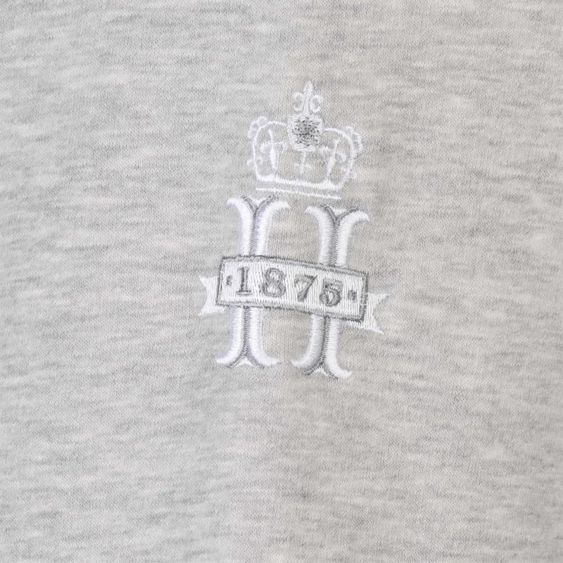 Mikina Hurlingham Polo 1875 Essential Graphic Hoodie Mens Grey Marl