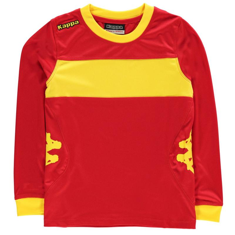 Tričko Kappa Remilio Long Sleeve T Shirt Junior Boys Red/Yellow