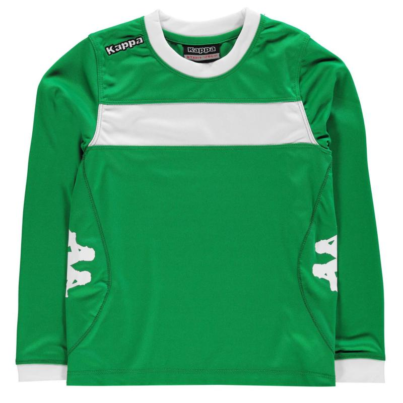 Tričko Kappa Remilio Long Sleeve T Shirt Junior Boys Green/White
