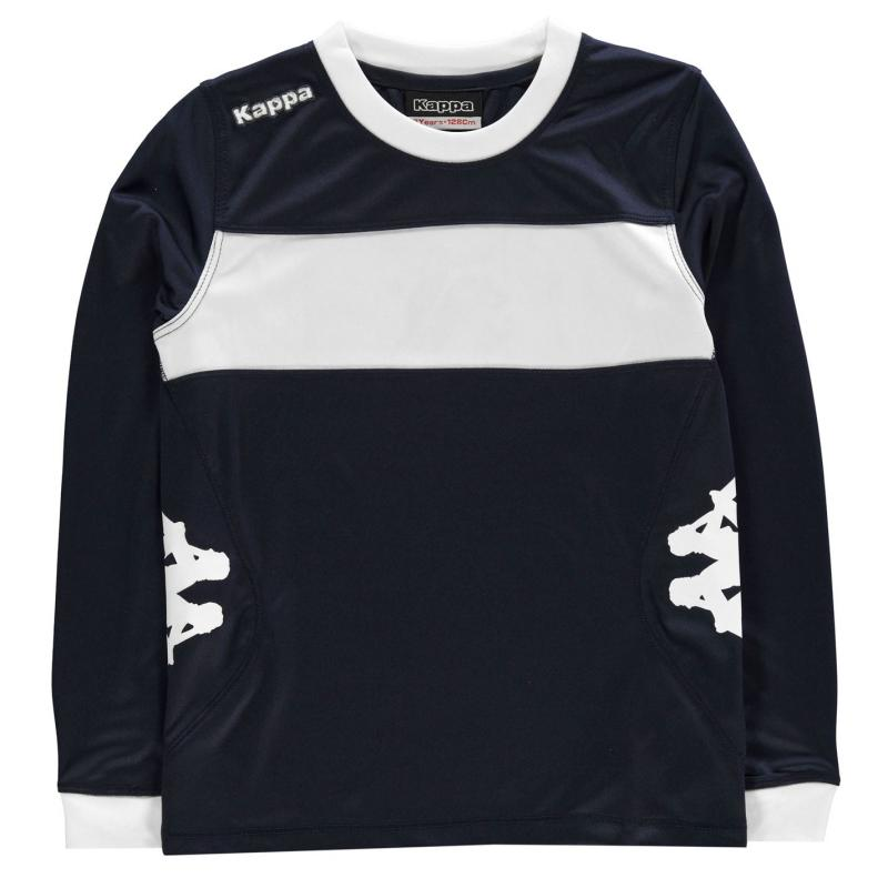 Tričko Kappa Remilio Long Sleeve T Shirt Junior Boys Navy/White