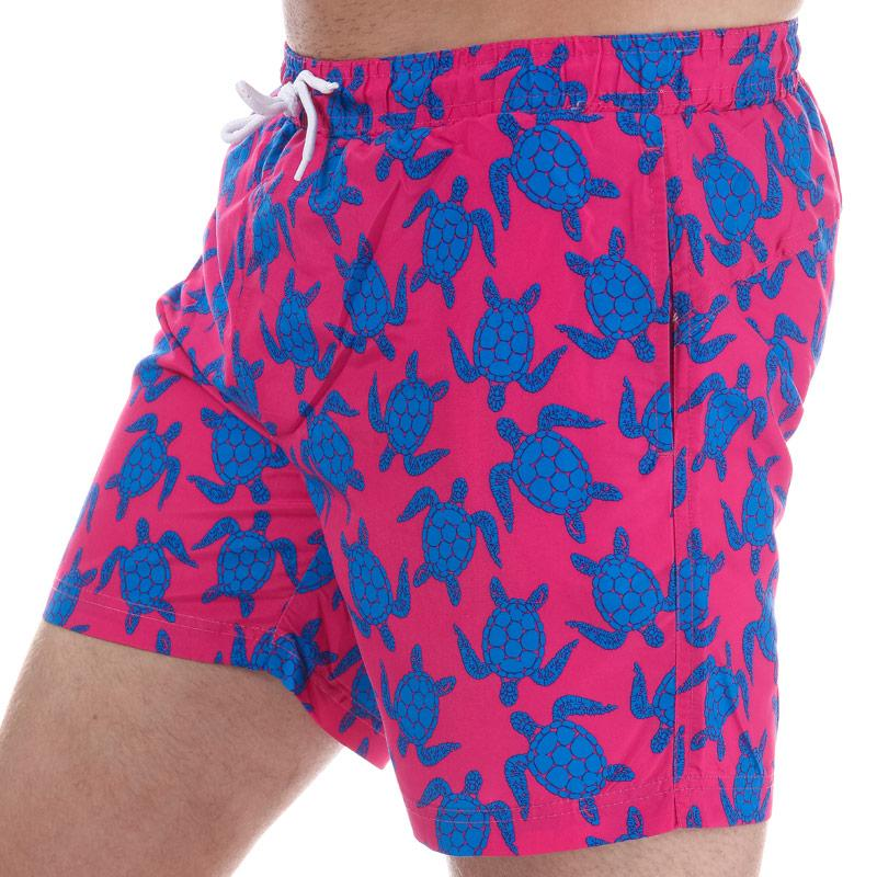 Henleys Mens Turtle Patterned Swim Short Pink blue