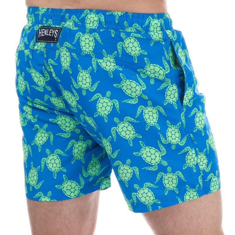 Henleys Mens Turtle Patterned Swim Short Blue green