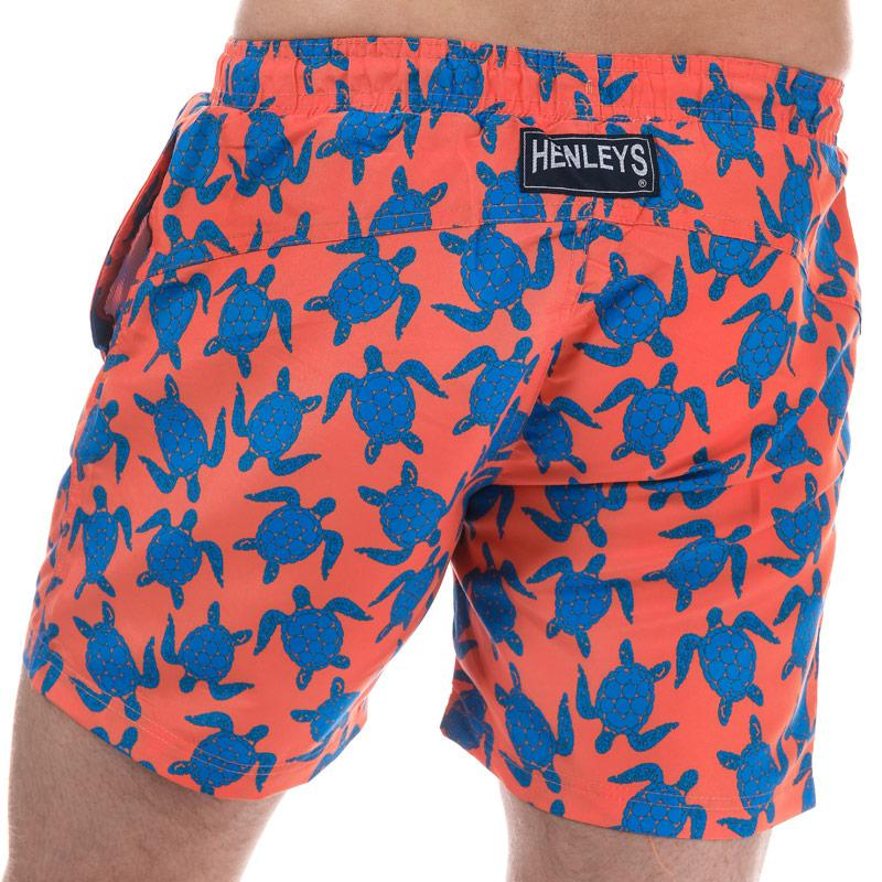 Henleys Mens Turtle Patterned Swim Short Orange blue