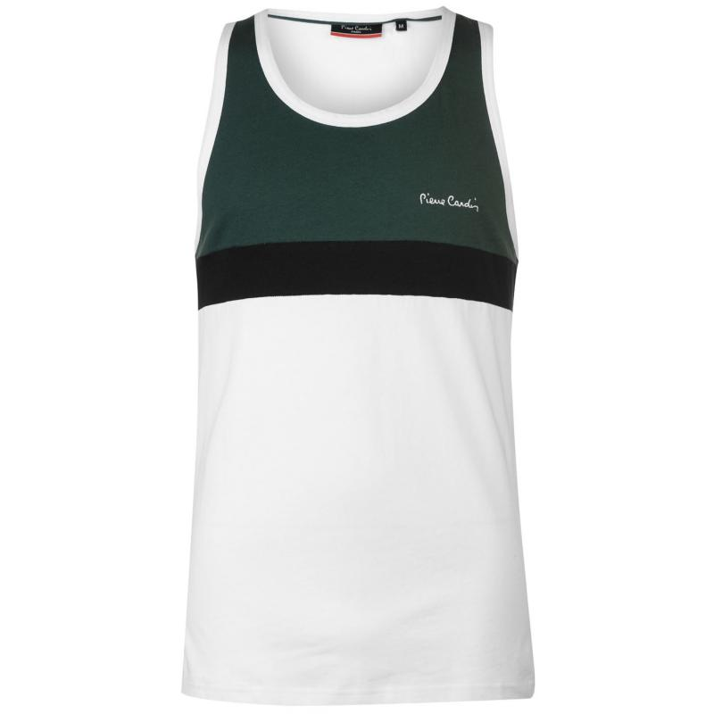 Tílko Pierre Cardin Cut and Sew Taped Vest Mens Green/White