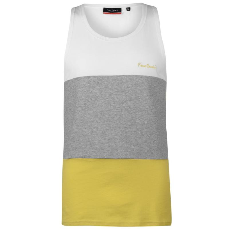 Tílko Pierre Cardin Large Cut and Sew Vest Mens Wht/Grey M/Yell