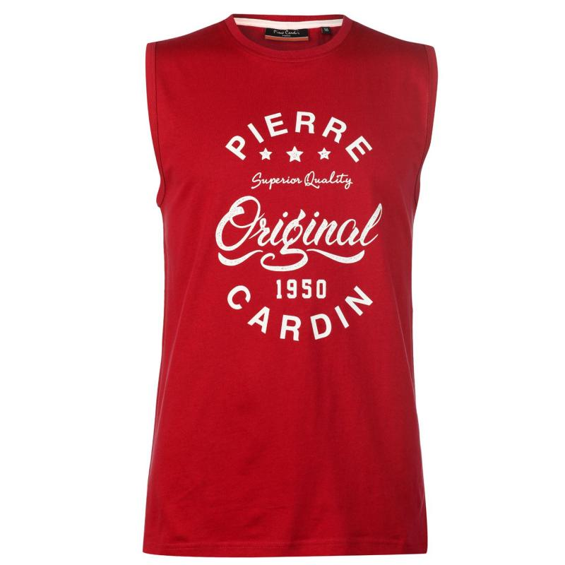Tílko Pierre Cardin Logo Sleeveless T Shirt Mens Red